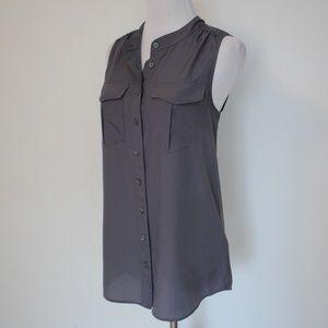 J. CREW Button Tank Blouse Gray Size 4